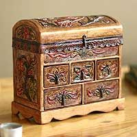 Collectible Leather and Wood Jewelry Box Antique Tan Leather