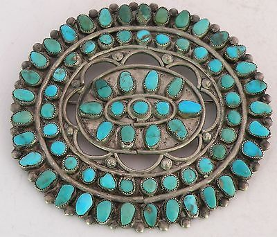 Vintage-Navajo-HUGE-pin-brooch-sterling-silver-Turquoise-cluster-Abraham-Begay