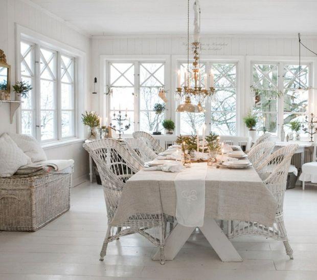 Wohnzimmer Shabby Chic Kronleuchter Rattan Stühle weiß | dining ...