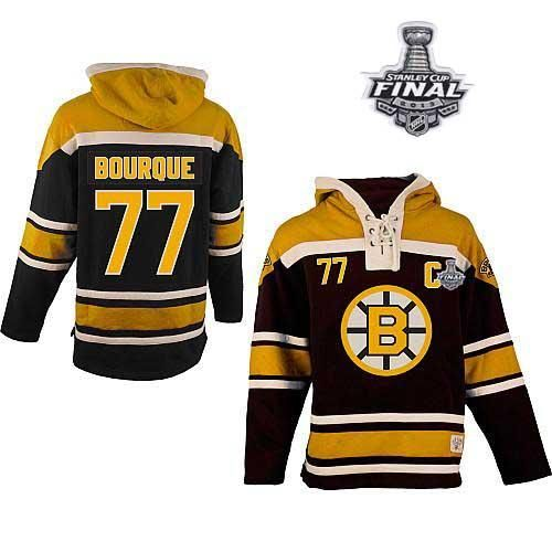 Bruins Stanley Cup Finals Patch 77 Ray Bourque Black Sawyer Hooded Sweatshirt Embroidered Nhl Jersey Emillia Kelly Nhl Apparel Boston Bruins Hockey Clothes