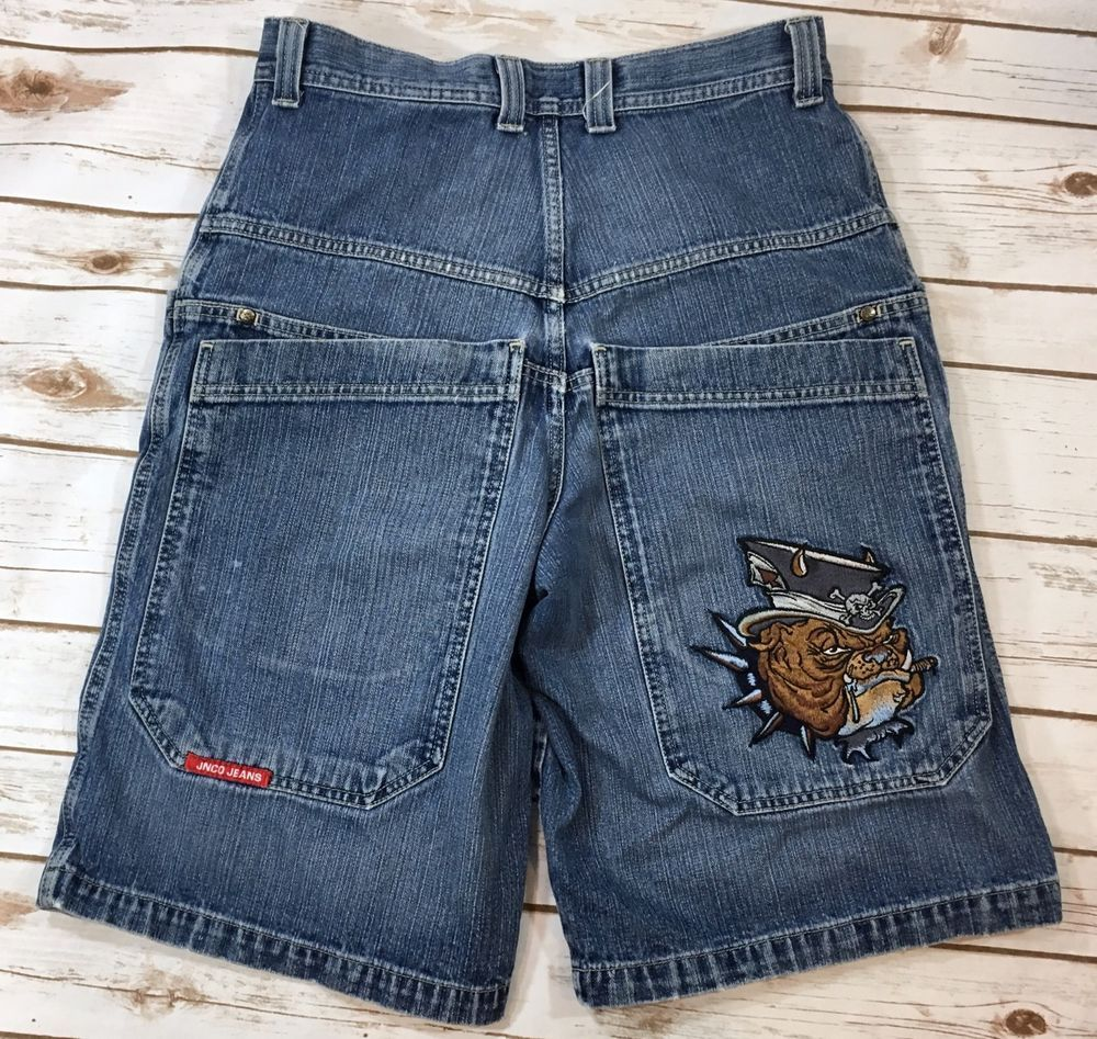 Vintage 90s JNCO Mens Size 32 Denim Jean Skater Style Shorts Bulldog