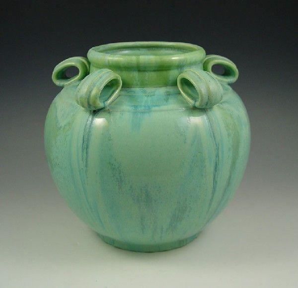 Fulper Vase 54 Fulper Ring Handle Green Crystalline Vase Arts
