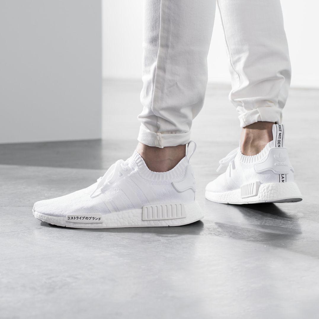 Adidas Originals Nmd R1 Primeknit Triple White Calzas Zapatillas Estilos De Ropa