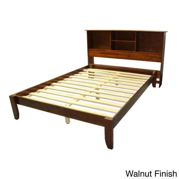 Scandinavia Queen Size Solid Wood Tapered Leg Platform Bed With Bookcase  Headboard   Overstock™
