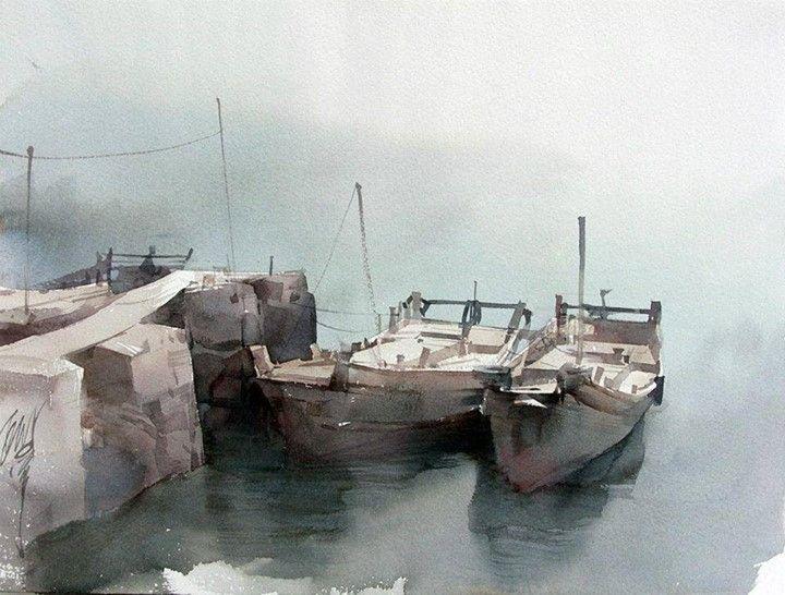 柳毅 / Liu Yi (b. 1958, China) sketches of series fishing village. watercolor.