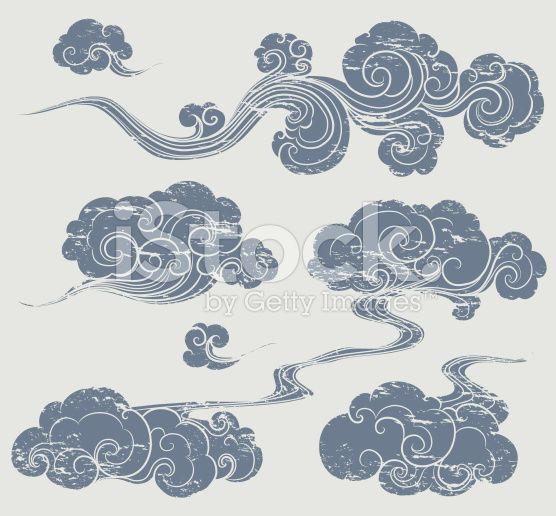 a set of grunge cloud graphics in oriental style. | grunge