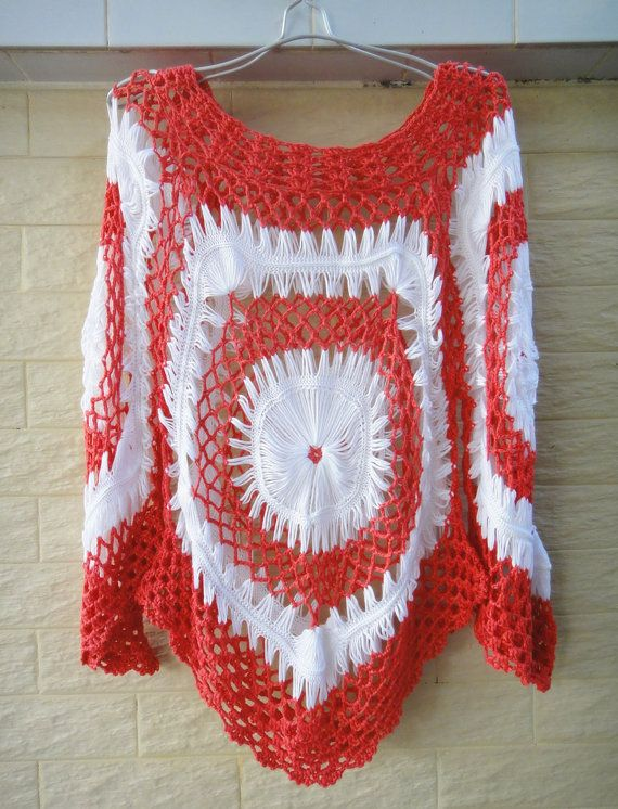 Red and White Womens Crochet Lace Blouse Long Sleeve