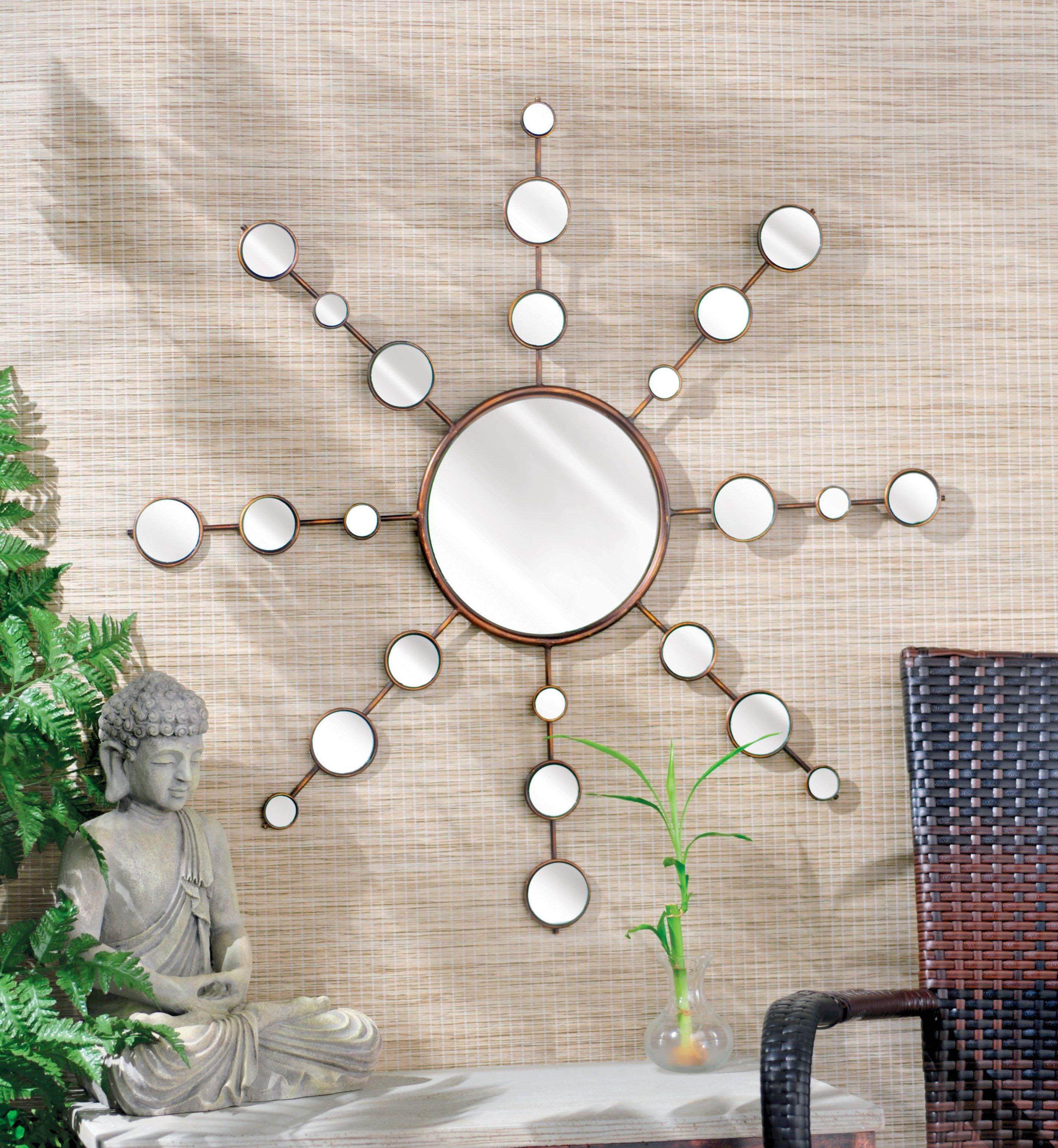 """Thin rustic bronze finished metal frame with 9"""" round mirror in center and assortment of 2.5"""", 2.25"""", 2"""" mirror accents by Grasslands Road #HomeDecor #PatioDecor #Mirror #Retreat #GrasslandsRoad #GazeboDecor"""
