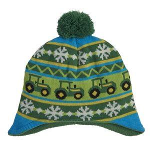 John Deere Boy s Green Tractor Snowflake Knit Hat  100f51497dda
