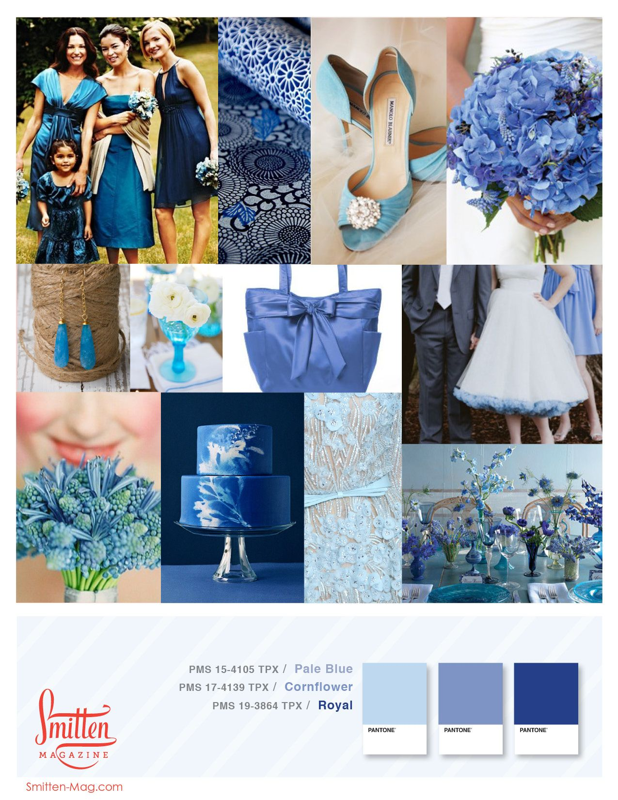 Flowergirls In A Complimentary Lighter Or Darker Shade Of Blue