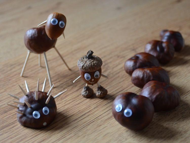 Lustige Tiere Aus Kastanien Basteln Herbsthalloween Pinterest