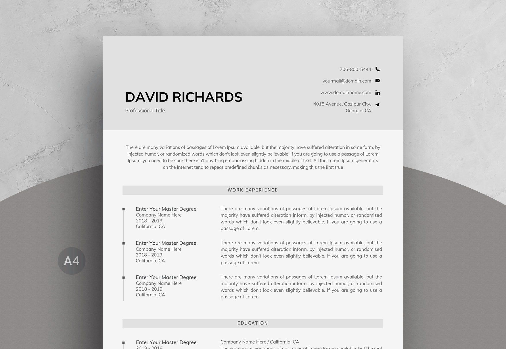 Minimal One Page Resume Template in Word One page resume