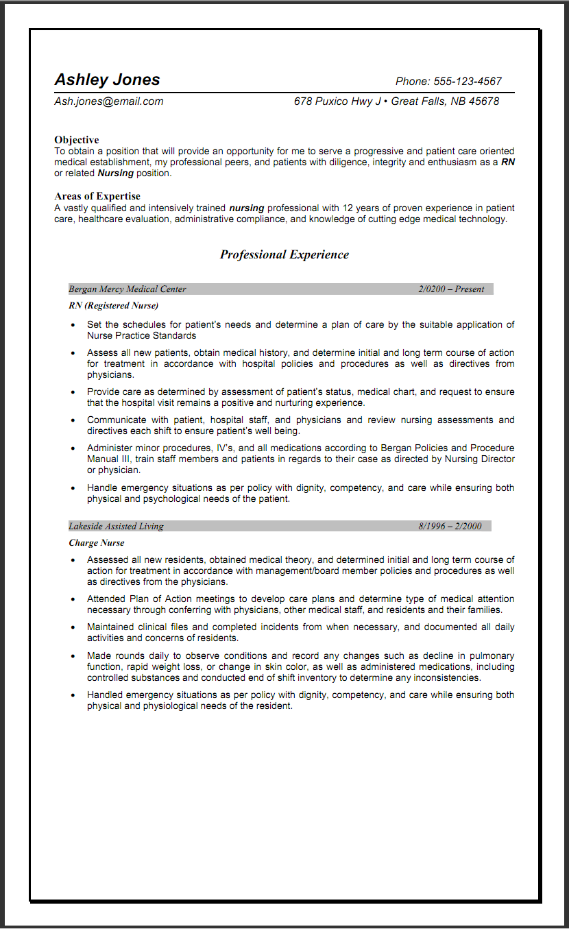 Sample Objective Resume For Nursing http//www