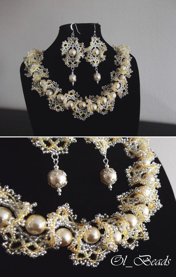 Christmas gift! Seed Bead Necklace and Earrings, Ogalala Lace ...