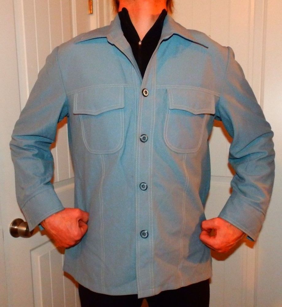 2ee3a8a93be5d vtg 70 s JC PENNEY polyester DISCO leisure suit jacket blazer powder blue  large  jcpenney