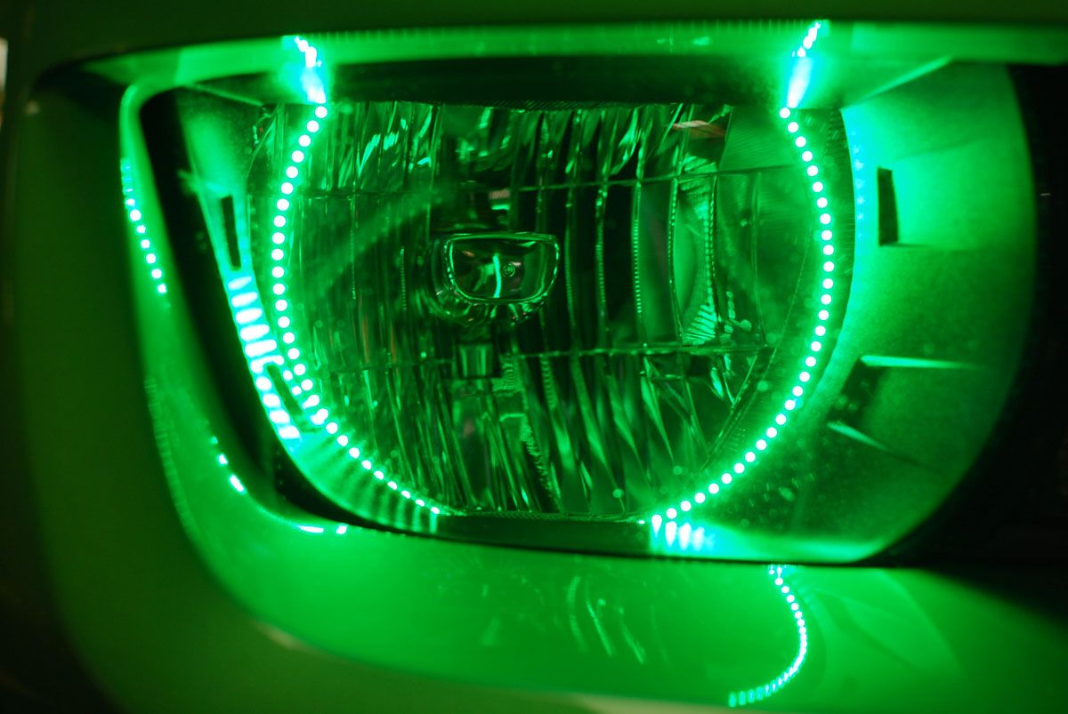 Chevy Camaro Green LED Headlights with Angel Eyes by FlyRyde