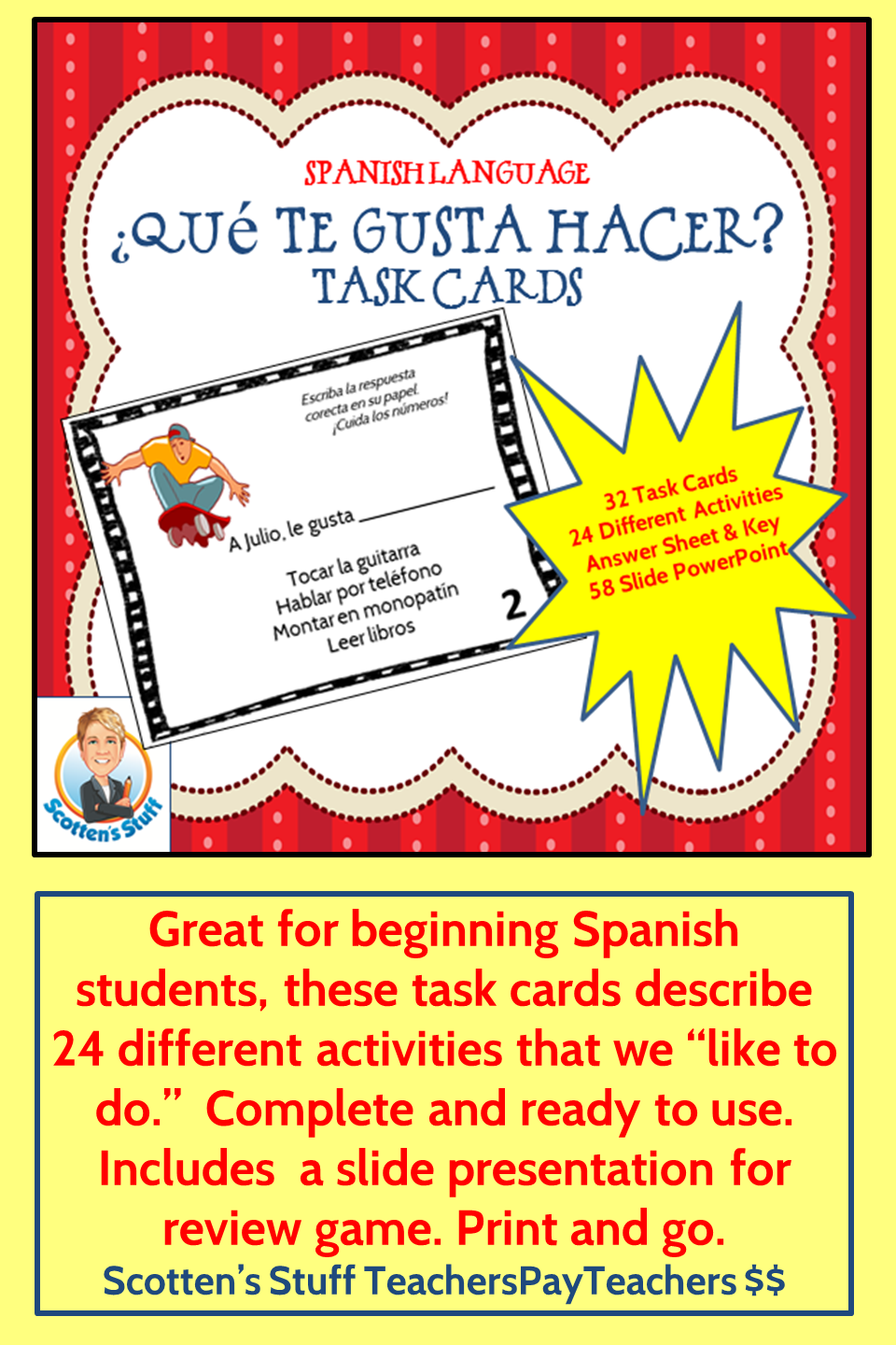 Spanish Language Task Cards for Que te gusta hacer or