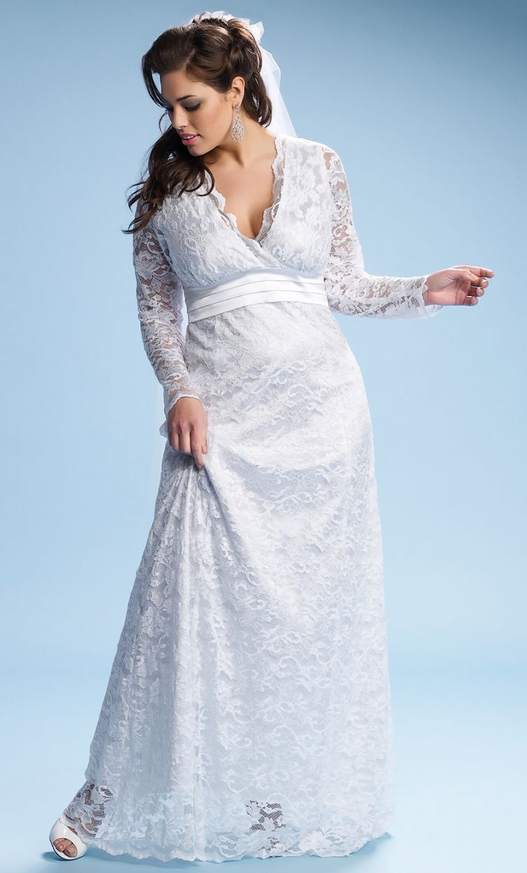 Plus size lace wedding dress analisa long ivory wedding