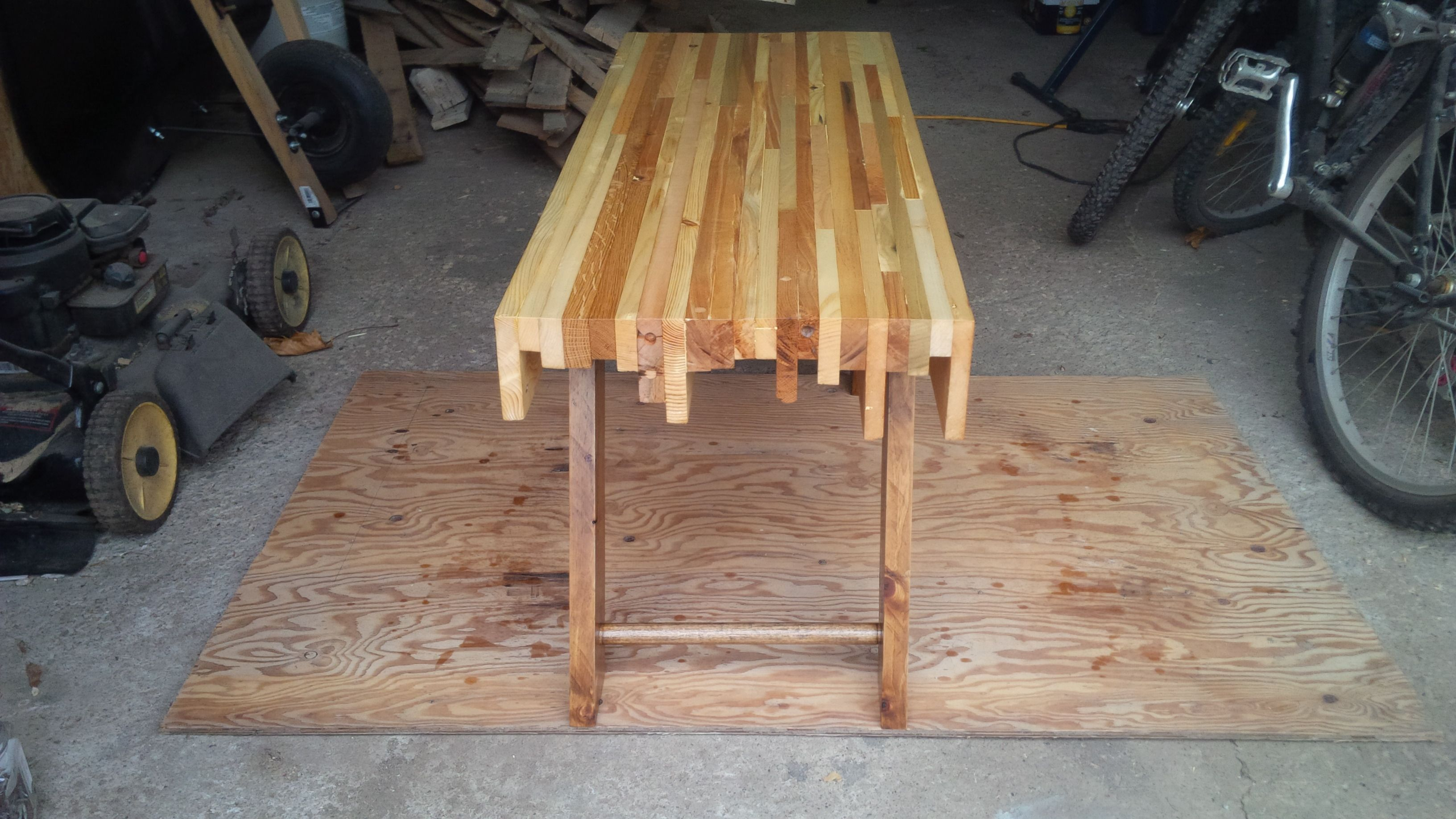 Made almost entirely from an old headboard and couch