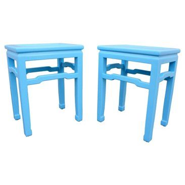 Check out this item at One Kings Lane! Blue Lacquered Baker End Tables, Pair