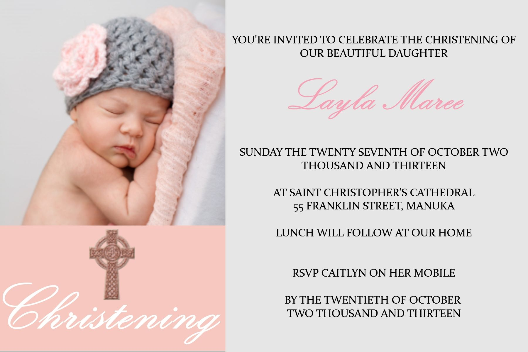 Baby Girl Christening Invitation By Platinum Invitations & Candy ...