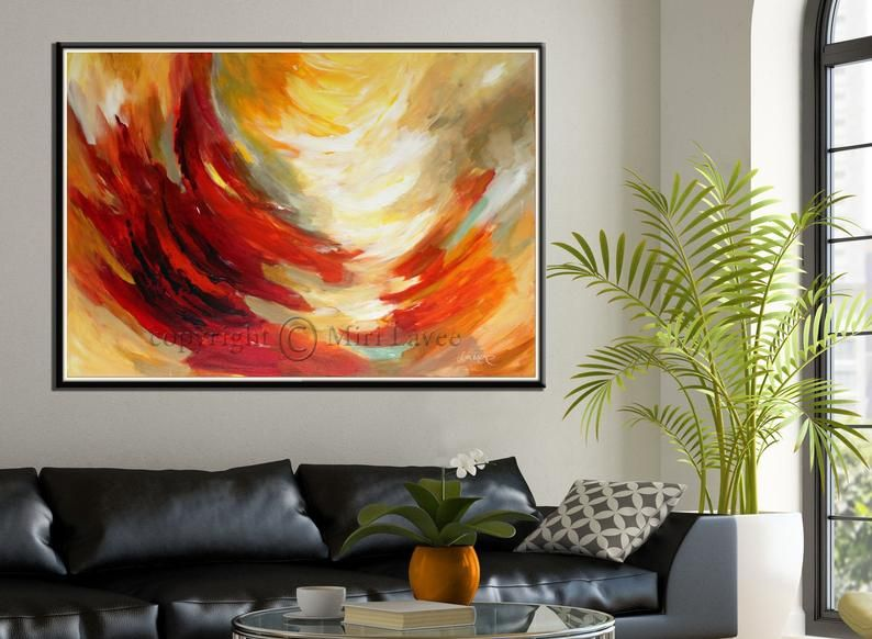 Large Original Abstract Oil Painting On Canvas Modern Sunrise Etsy In 2020 Sunrise Art Painting Original Wall Art Sunrise Art #oil #painting #living #room