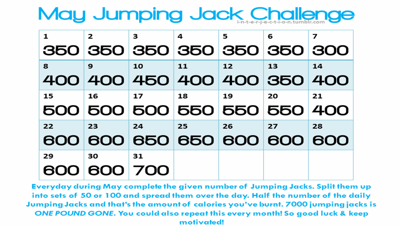 Jumping Jack Challenge - May | Workout challenge, Jumping ...