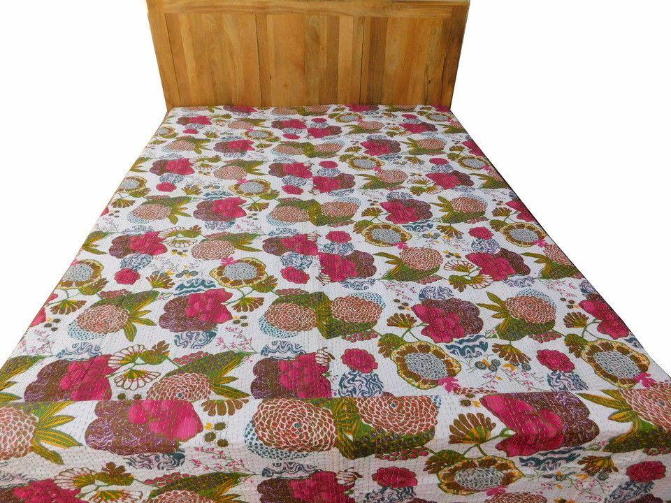 Kantha Quilt Patchwork Bedding Indian Floral Bedspread Throw Gudri Bed Sheet Fb6 Handmade Traditional Floral Bedspread Bed Sheets Quilt Bedding