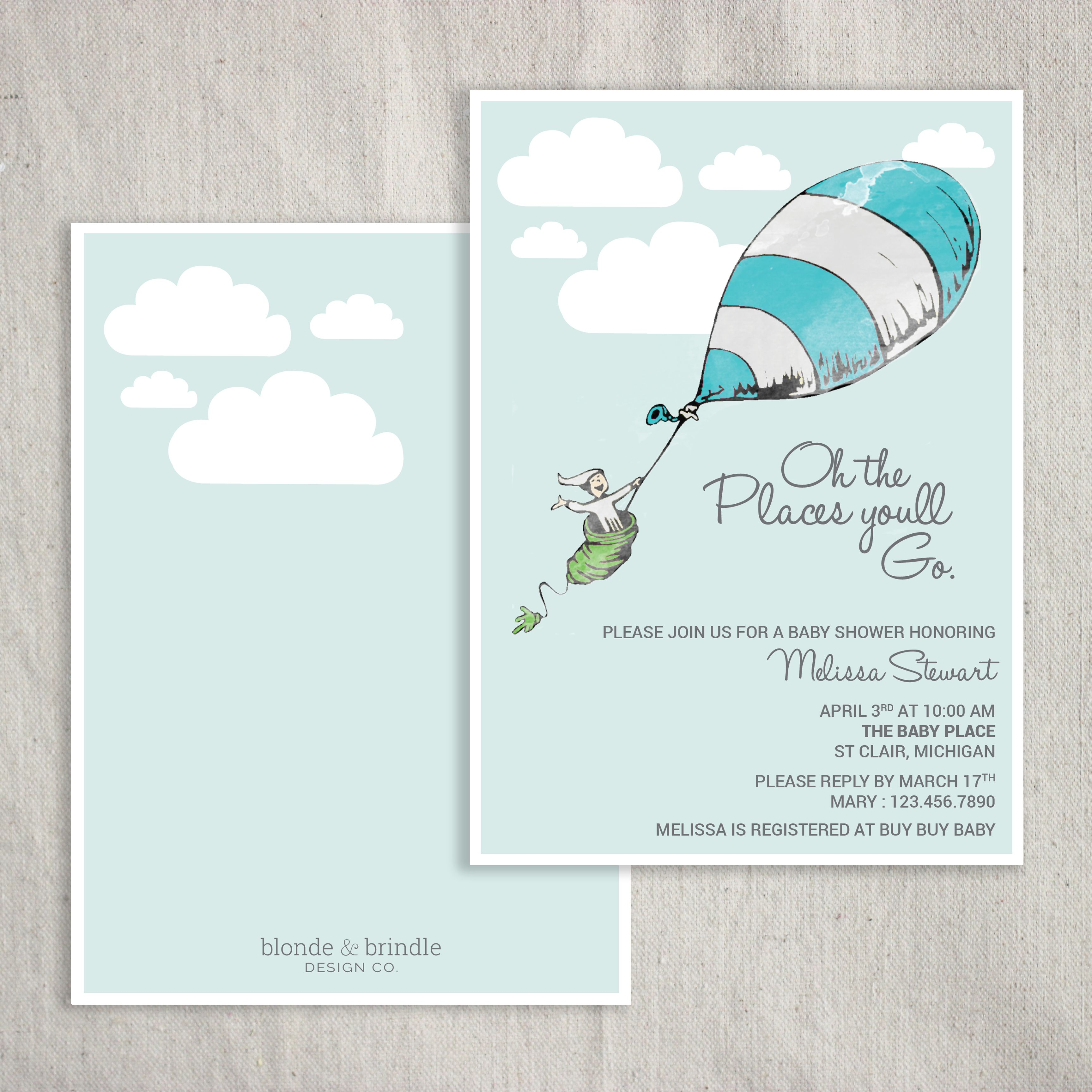 Oh the places you\'ll go\' Dr. Seuss themed baby shower invitation ...