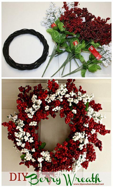 Berry Christmas Wreath Idea from Dollar Store Supplies | Wreaths ...