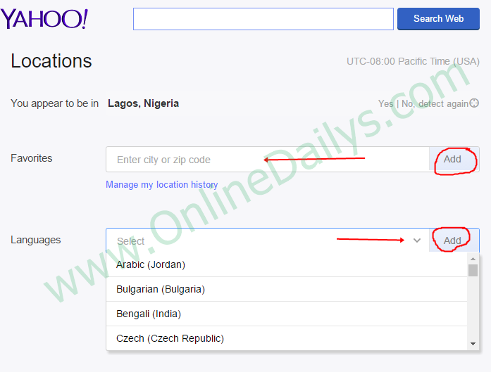 How To Change Yahoo Mail Country Language Location Edit Yahoo Account Online Dailys Language Accounting Online Accounting