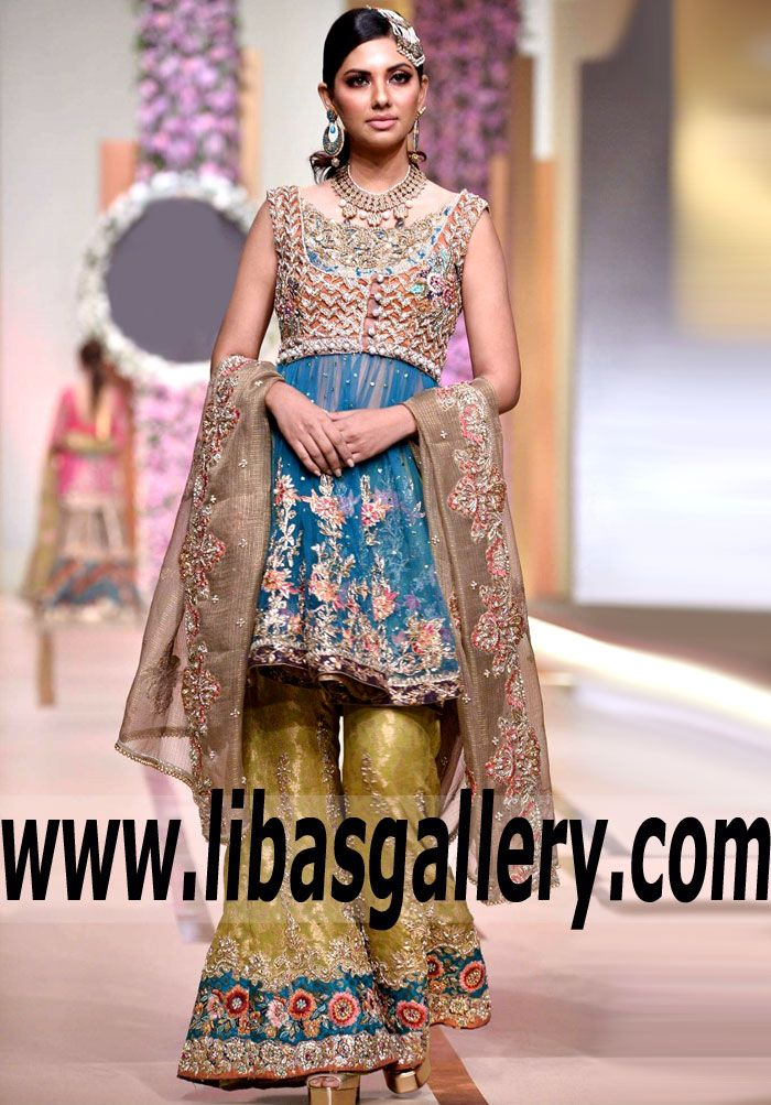 Stylish Designer Wedding Anarkali Dress With Flourishing Embellished Bell Bottom Trouser For Special Occasions And Next