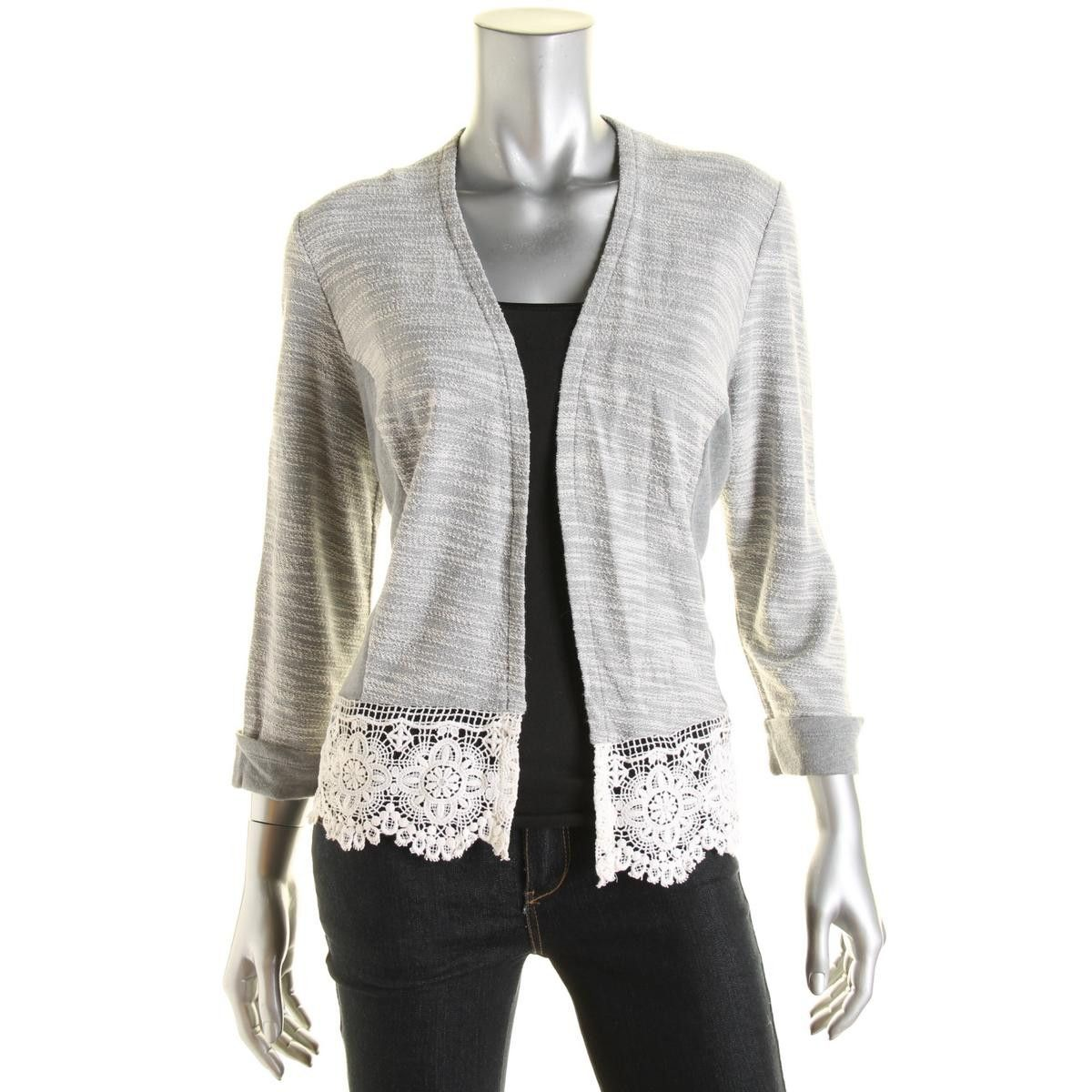 INC Womens Marled Lace Trim Cardigan Sweater | Cardigans For Men ...