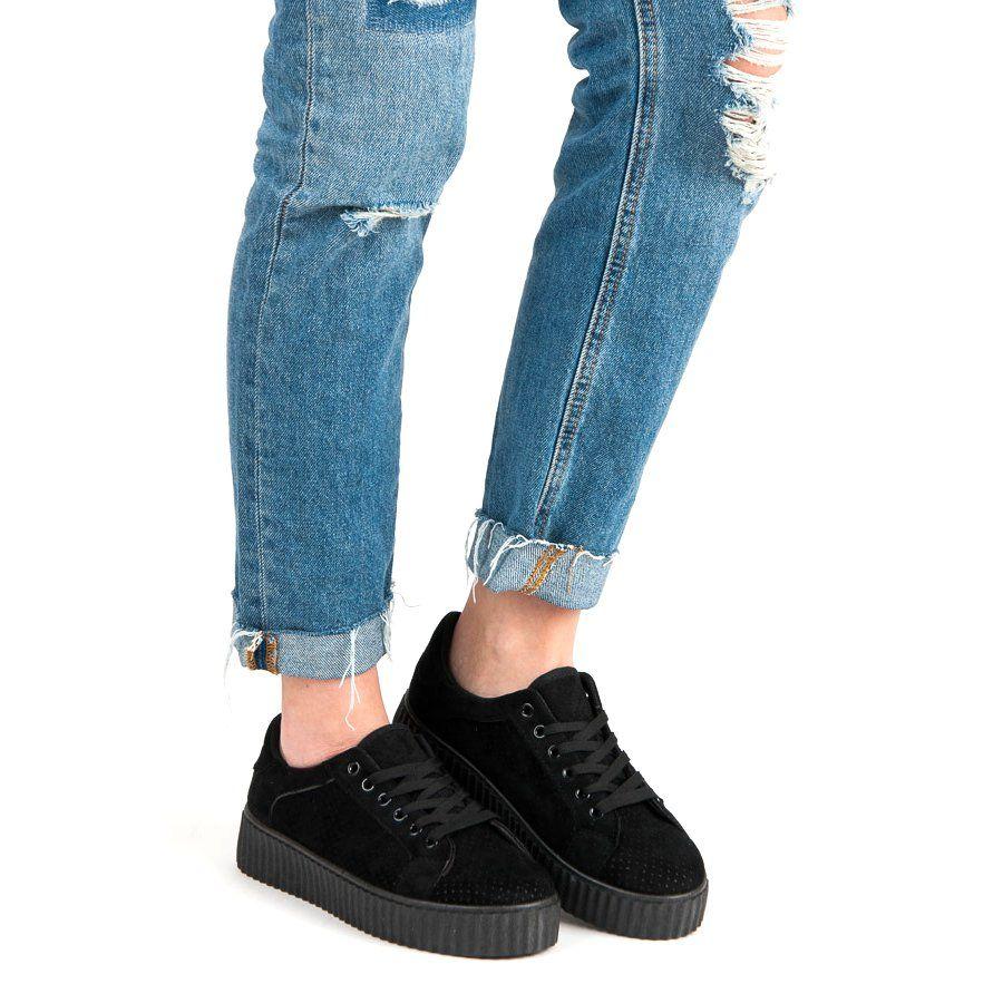 Seastar Zamszowe Trampki Na Platformie Czarne All Black Sneakers Sneakers Black Sneaker