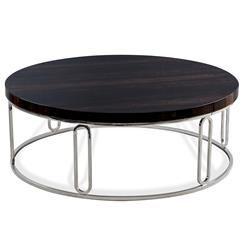 Barcelona Polished Eucalyptus Wood Round Silver Coffee Table