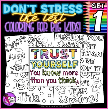 8dc494605bc29 Growth Mindset Coloring Pages   Posters  Don t Stress The Test ...