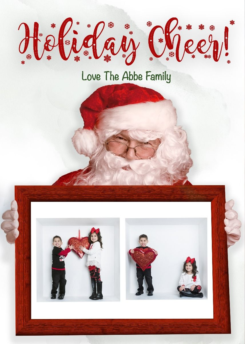Santa Smile Holding Red Frame Photoshop Holiday Christmas Card Template With Clipping Mask Christmas Card Template Card Template Greeting Card Template