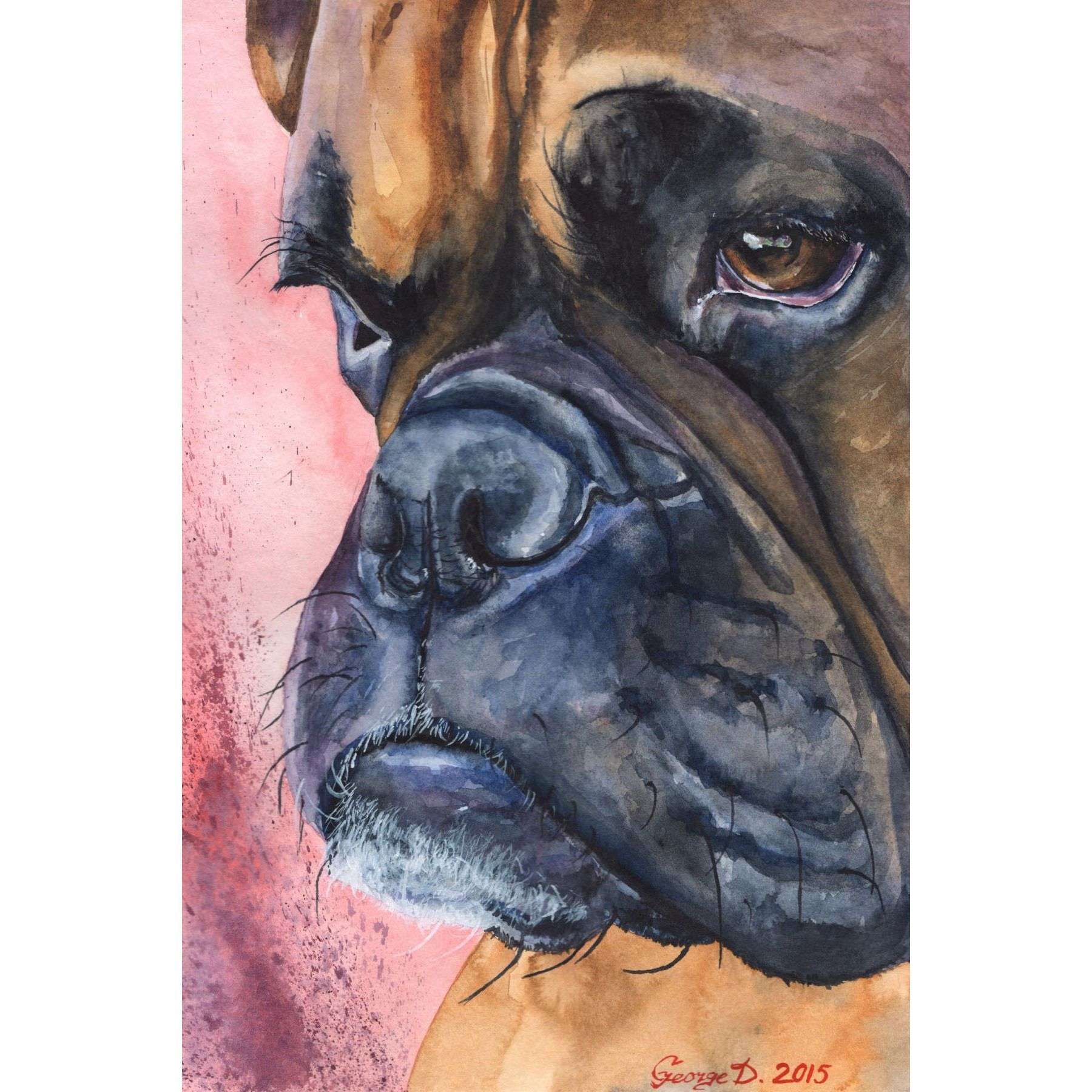 Marmont Hill Handmade Boxer Portrait Print On Wrapped Canvas Zwgrafikh Mpo3er