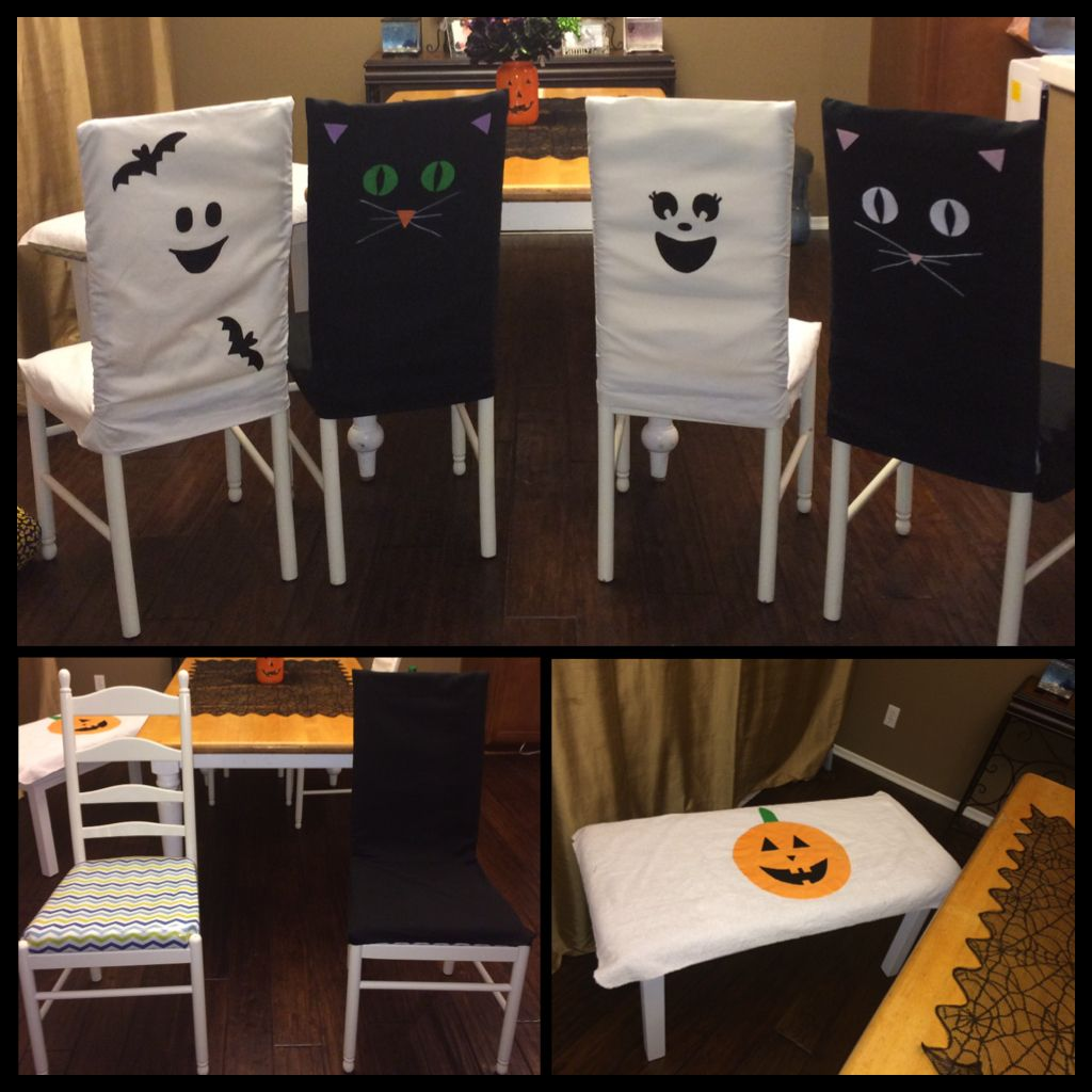 Halloween chair covers I made for our dining room chairs using old black curtains and old white bed sheet that I already had on hand. All the little pieces Are made with felt