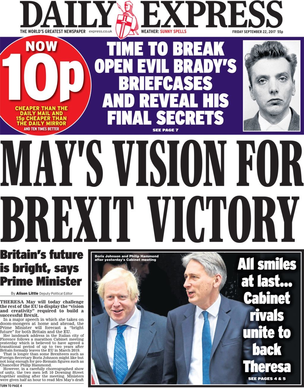 Frontpage focus on May's big Brexit speech Newspaper