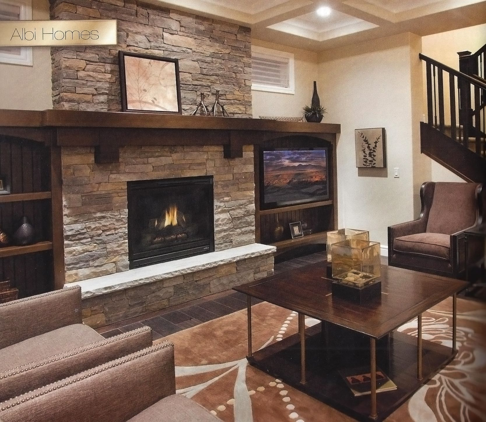 Natural Stone Fireplace With Wood Mantel