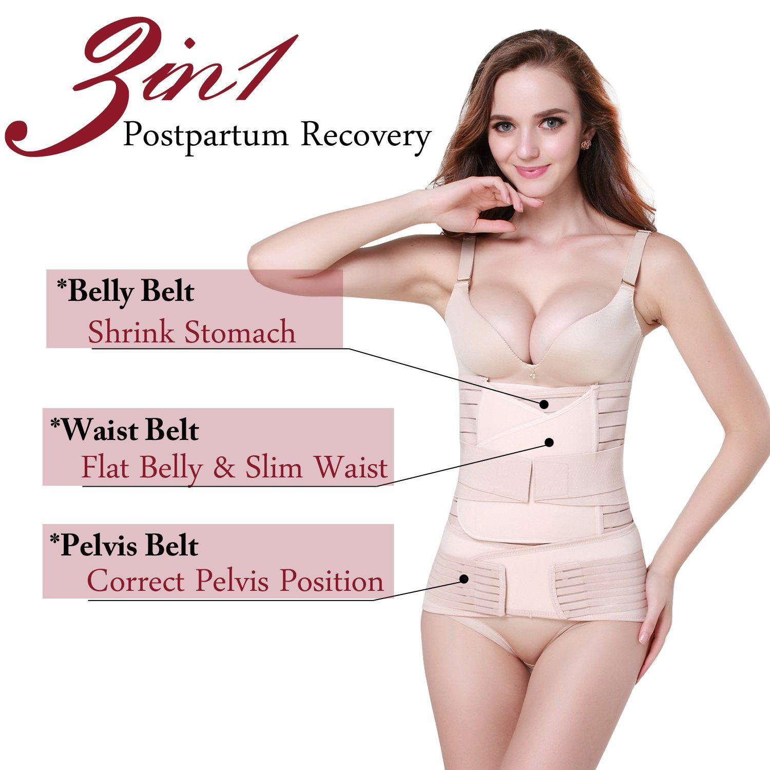 099b5f473 TiRain 3 In 1 Postpartum Support Recovery Belly Waist pelvis Belt  ShapewearPlus Size For Weight Over 190lbs Plastic BagNude -- Be sure to  check out this ...