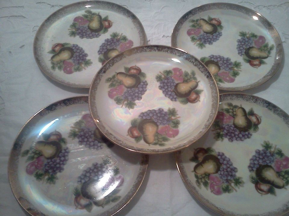 """Vintage Lot Set of 5 Lusterware Plates Fruit Lunch Plates With """"Mother of Pearl"""""""