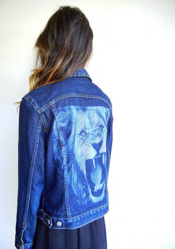Lion Face Back Denim Jacket by rerunvintage