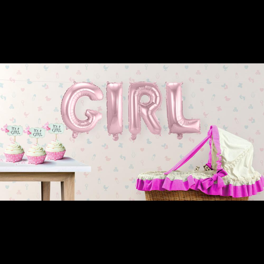 BuchstabenGirlande Folienballons Girl Rosa Girlanden