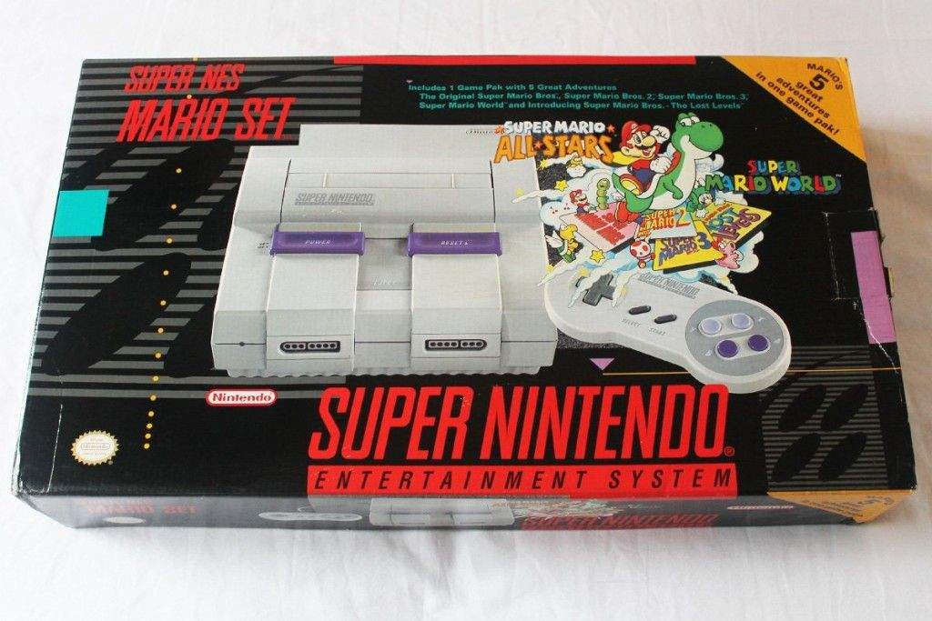 Super Nintendo Mario Set Snes System Plus 5 Games On 1 Cartridge