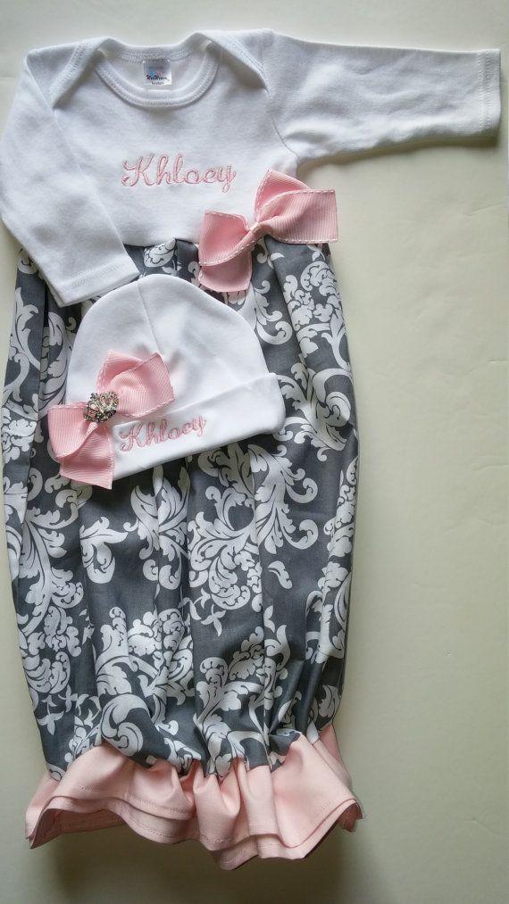 Newborn girl coming home outfit, newborn layette gown, newborn ...
