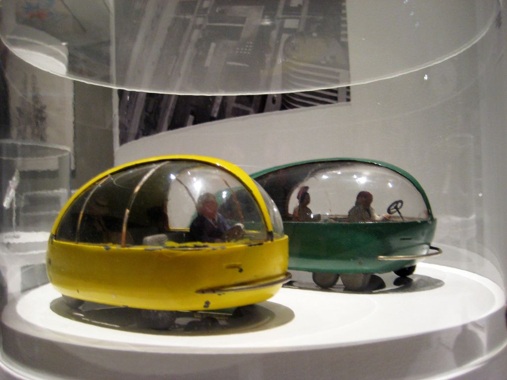 Yellow and Green Futuristic Concept Bug Like Cars: Norman Bel Geddes ...