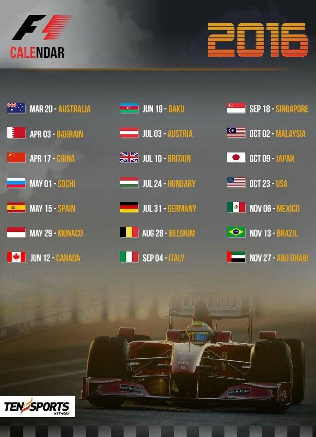 2016 Formula 1 Schedule Formula 1 Grand Prix Racing F1 Calendar