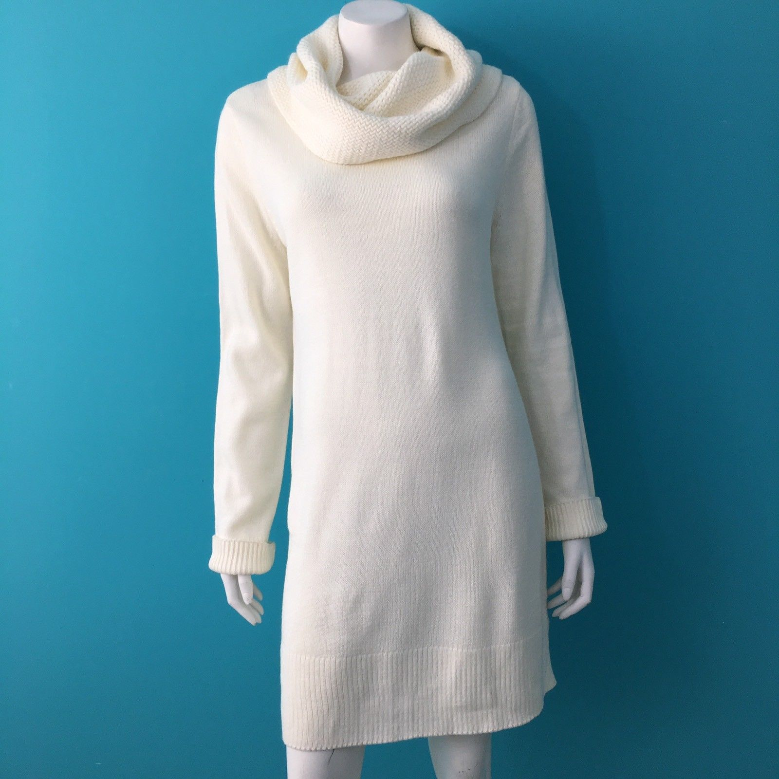 Cool Amazing H&M Womens Long Sleeve Cowl Neck Sweater Dress Cream ...